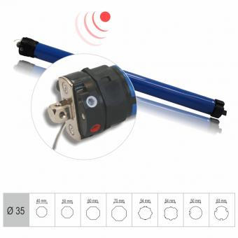 Tubular motor, mechanical limit switch, built-in receiver, 6 Nm with with adapter for Ø 50 mm round shaft 675 mm