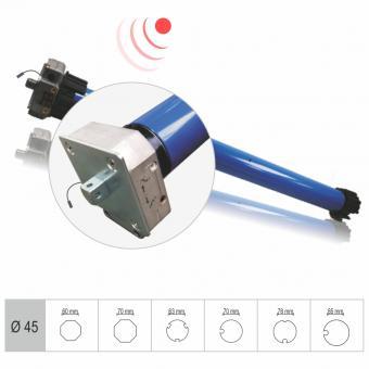 Funk-Markisenmotor, mechanisch einstellbare Endlagen, Notkurbelfunktion, verschiedene Adapter und Stärken