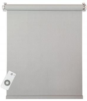 Elektrisches Rollo, grau/weiß, 5% lichtdurchlässig, inkl. Akku-Motor & Sender, 60x220 cm (1 ST) 60 x 220 cm | Hellgrau