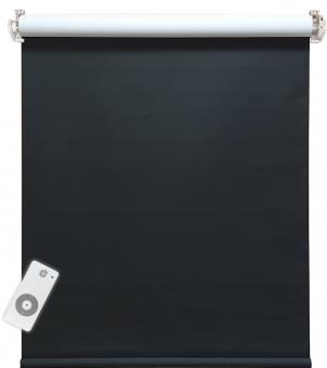 Elektrisches Rollo, schwarz/weiß, 100% blickdicht, inkl. Akku-Motor & Sender, 90x220 cm (1 ST) 90 x 220 cm   Schwarz/weiß