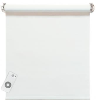 Elektrisches Rollo, weiß, 100% blickdicht, inkl. Akku-Motor & Sender, 95x220 cm (1 ST) 95 x 220 cm   Weiß