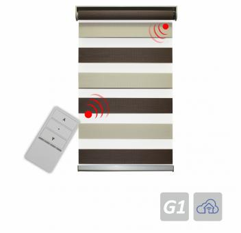 Electrical zebra blind, incl. battery operated tubular motor, colour code: 02 700x2500 mm