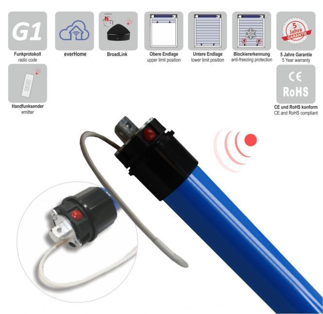 Rohrmotor, elektronisch einstellbare Endlagen, Funk, 5 Nm mit Adapter für 40 mm 8-Kantwelle 590 mm