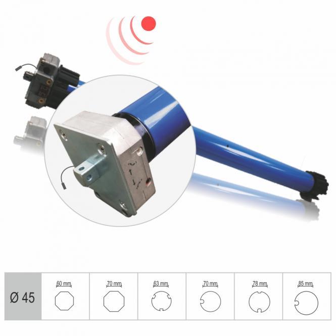 Funk-Markisenmotor, mechanisch einstellbare Endlagen, 50 Nm mit Adapter für 60 mm 8-Kantwelle, Funkprotokoll G1