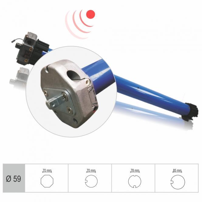 Funk-Markisenmotor, mechanisch einstellbare Endlagen, 120 Nm mit Adapter für 78 mm Rundwelle, Funkprotokoll G2