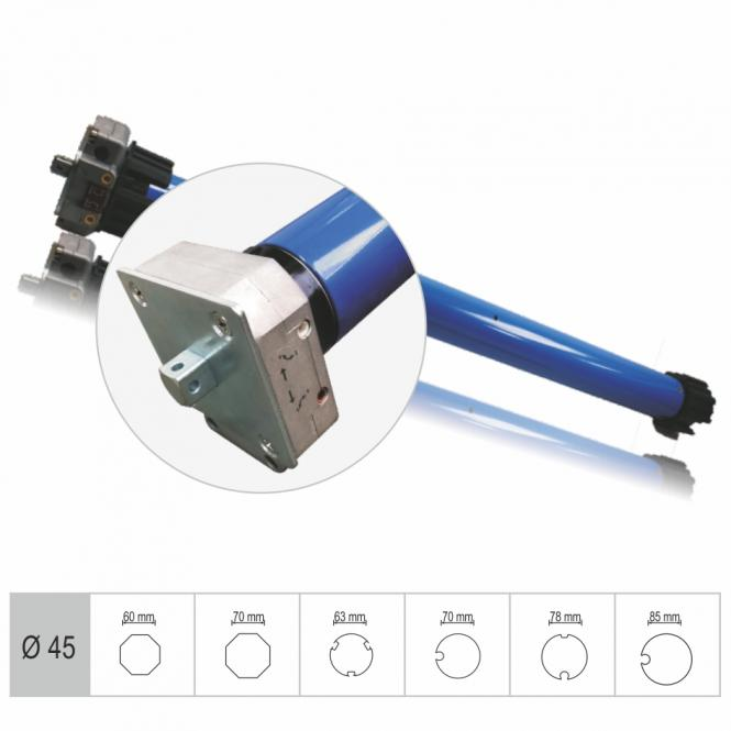 Markisenmotor, mechanisch einstellbare Endlagen, 50 Nm, mit Adapter für 60 mm 8-Kantwelle