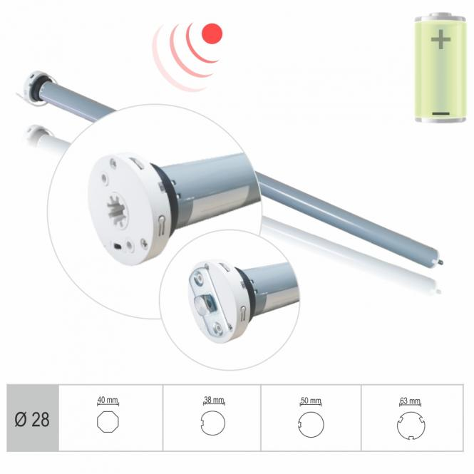 Rechargeable battery-powered tubular motor, electronically adjustable end positions, 2 Nm with adapter for 50 mm round s