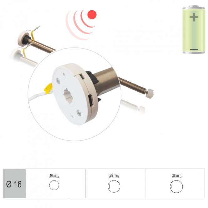 AKKU-Rohrmotor, elektronisch einstellbare Endlagen, 0,3 Nm mit Adapter für 18 u. 25 mm Rundwelle, Funkprotokoll G2