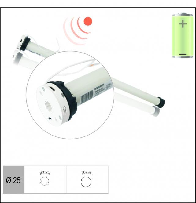 AKKU-Rohrmotor, elektronisch einstellbare Endlagen, 0,7 Nm mit Adapter für 38 mm Rundwelle, Funkprotokoll G2