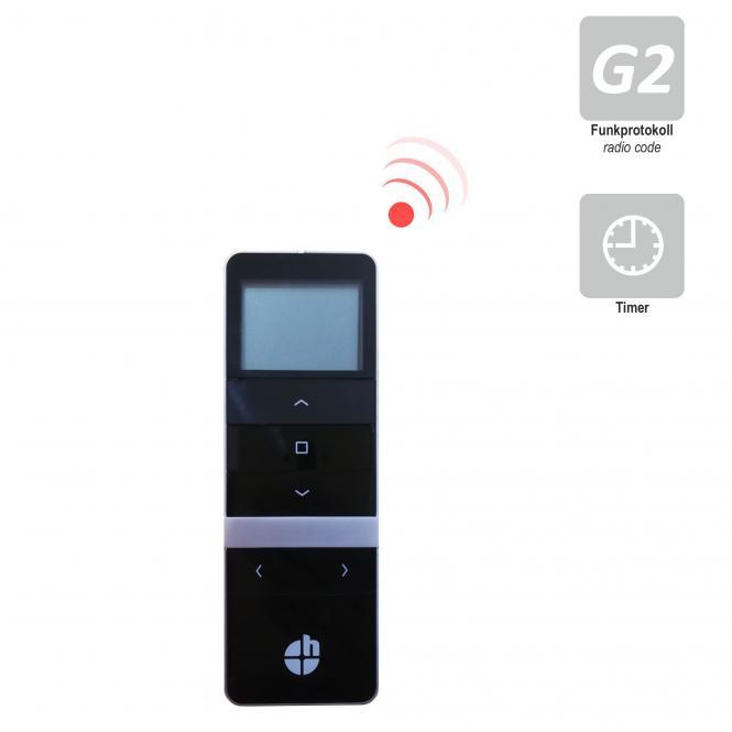 5-Kanal Handfunksender mit Display, inkl. Batterie, 433,92 MHz, Timerfunktion, schwarz, Funkprotokoll G2