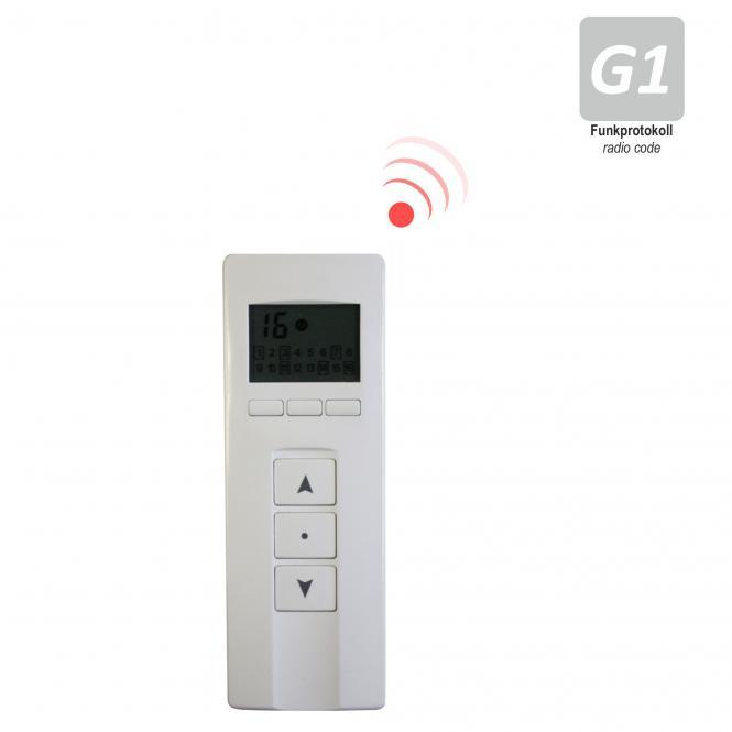 16-Kanal Design Handfunksender mit Display, inkl. Batterie, 433,92 MHz, weiß/Edelstahl