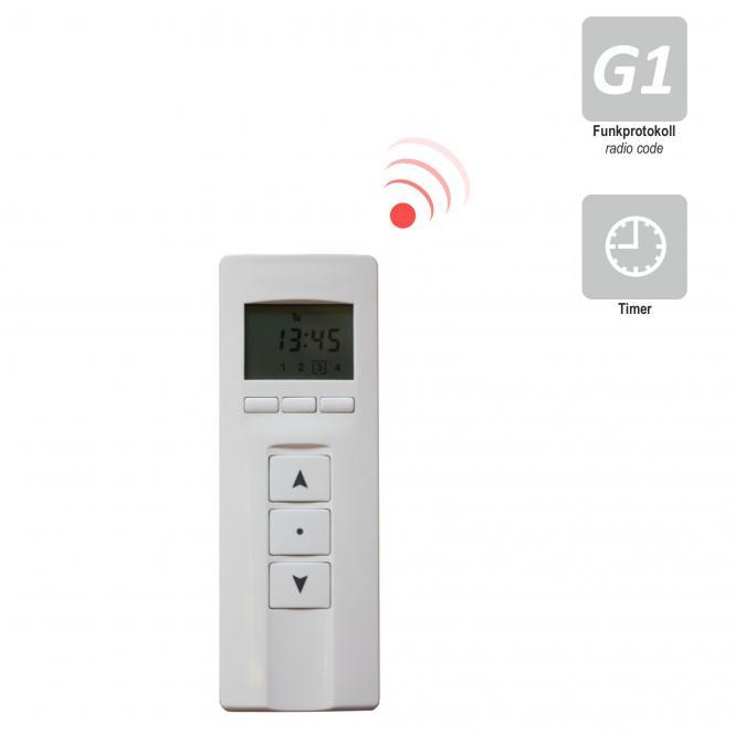 4-Kanal Design Handfunksender mit Display / Zeitschaltuhr, inkl. Batterie, 433,92 MHz, weiß/Edelstahl Select