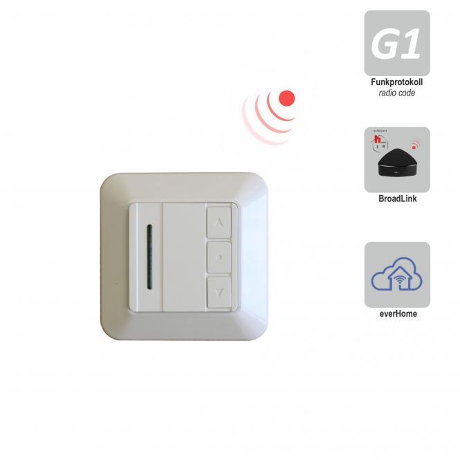 Tastenschalter mit integriertem Funkempfänger, Unterputz, 230 V/AC, weiß RAL 9003