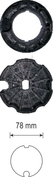Adapter-Set, Flach- und Rundnut Ø 78 mm, für ER und ERF Motoren Ø 45 mm, schwarz