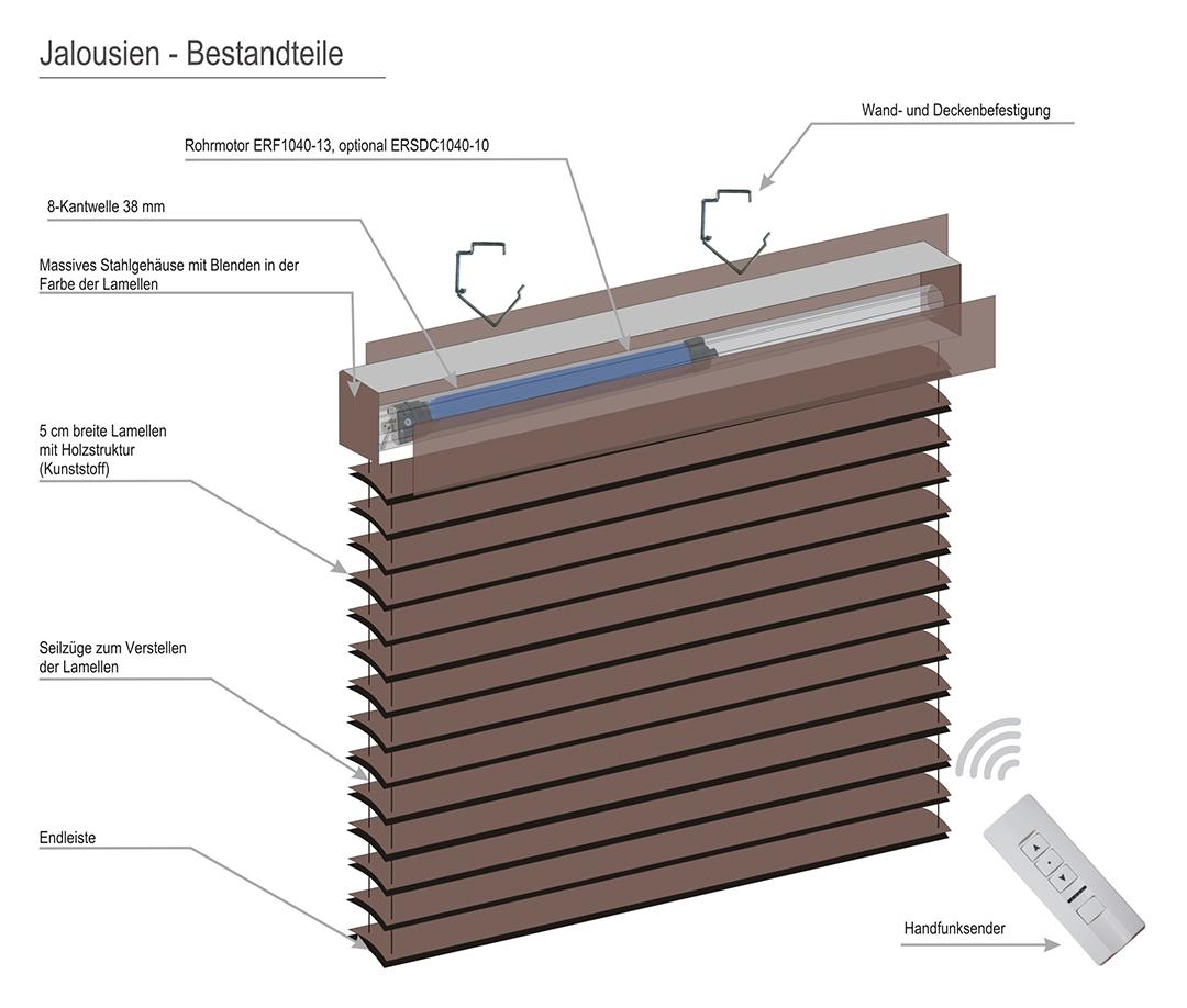 elektrische jalousie mit rohrmotor und integriertem funk 120 x 250 cm. Black Bedroom Furniture Sets. Home Design Ideas
